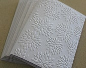 Flower burst card set, set of eight embossed cards in white, gift idea