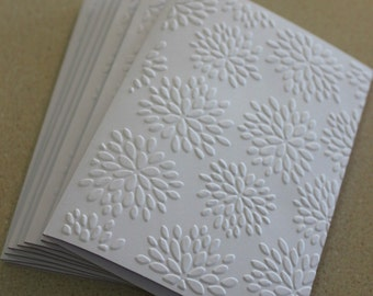 Flower burst card set, set of eight embossed cards in white, gift idea, modern card set, thank you, birthday, sympathy, anniversary cards