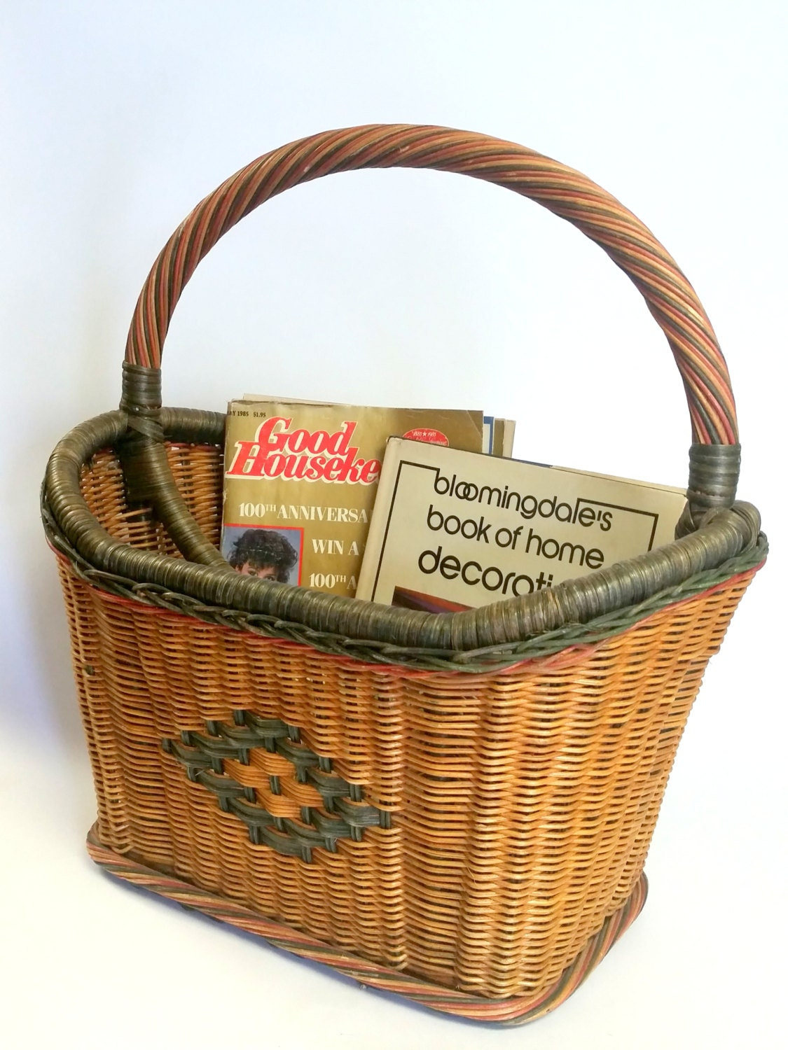 Vintage large quantity wicker wood basket magazine rack stand 2 compartments ships international - Divided wicker basket ...