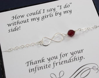 7 Bridesmaid Anklets Infinity, Infinity Eternity Jewelry, Silver Infinity, Birthstone Anklet, Bridesmaid Gift, Thank You Card, Anklet