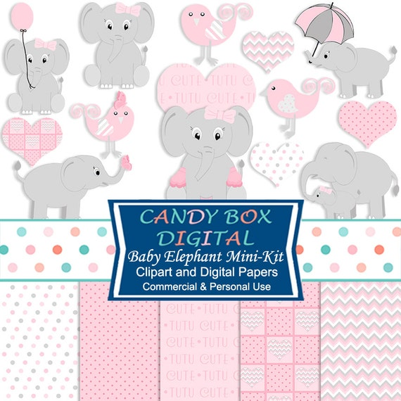 Girl Baby Elephant Clipart and Digital Paper Baby Girl Clip