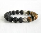 Mens Tigers Eye Lava Beaded Bracelet Father Husband Gift Bohemian Stretch Guy Bracelet Natural Stone Jewelry Big Beads Stack Bracelet