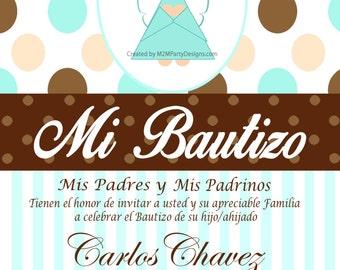 Tarjetas de Bautizo y Comunion, Invitaciones de Bautismo Recuardos Personalizados  que Imprimes en Casa