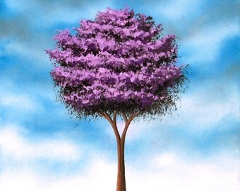 Whimsical Art Print, Contemporary Art Landscape Painting Wall Art, Giclee Print of Purple Tree Art, Gift Ideas Oil Painting 5x7, 8x10, 11x14