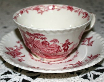 Masons of England Red and White Cup and Saucer, Watteau pattern