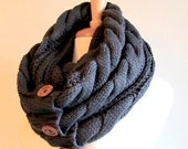 Charcoal Grey Infinity Loop Scarf Braided Cable Knit Neckwarmer Gray Scarves with Buttons Women Girls Accessories