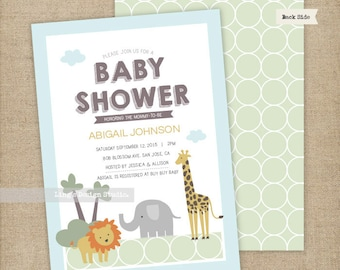 Safari Animals Baby Shower Invitation/ Sweet Neutral Gender Baby Shower Invitation | Printable or Printed