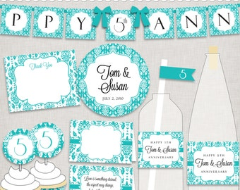 d.i.y. 5th Anniversary Party Printables in Turquoise