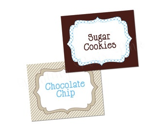 Milk & Cookies Collection (BLUE) | Printable Buffet Cards | Instant Download
