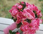Silk bridal bouquet hot pink, cerise, cabbage rose, greens, summer, matching boutonnieer