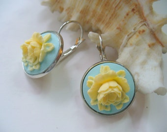 Butter Cream Rose, Pale Blue Cameo, Floral Earrings, Flower Earring, Floral Jewelry, Leverback French Earwires, Vintage Style, Cabbage Rose