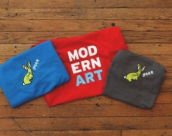 Red Modern Art and Blue and Gray Grrr Bunny T-Shirt