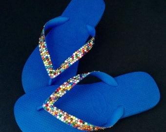 Swarovski Crystal Rhinestone Flip Flops Marine Blue US 8/8.5 Havaianas Beach Shoes Multicolored Magic Carpet Ride