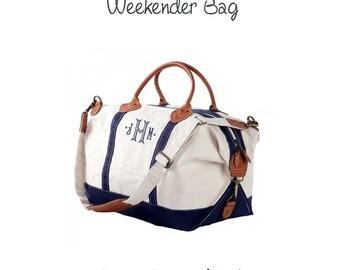 Navy Weekender Bag - Weekender Duffle Bag, Monogram Weekender Bag, Monogram Weekender, Large Weekender Bag