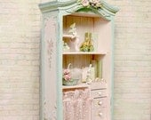 For Linda - Shabby French Cottage Chic Fairy Rose Cabinet - Antique Pink Lace - sculpted roses Hand-painted Jill Dianne Dollhouse Miniatures