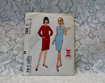 Smock Dress McCall's 7959 Short Sleeve Shift Long Sleeved Dress 1960's Fashion Hipster Summer Dress 7959 Size 16