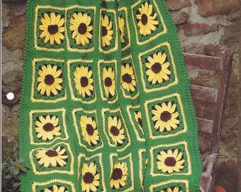 Brown-Eyed Susans - Afghan Collector's Series - The Needlecraft Shop - Crochet Afghan Pattern Sunflower, Home Decor, Blanket, Bedspread