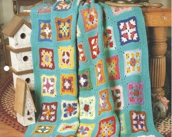 Patchwork Quilt - Afghan Collector's Series - The Needlecraft Shop - Crochet Granny Square Afghan Pattern, Blanket, Home Decor, Bedspread