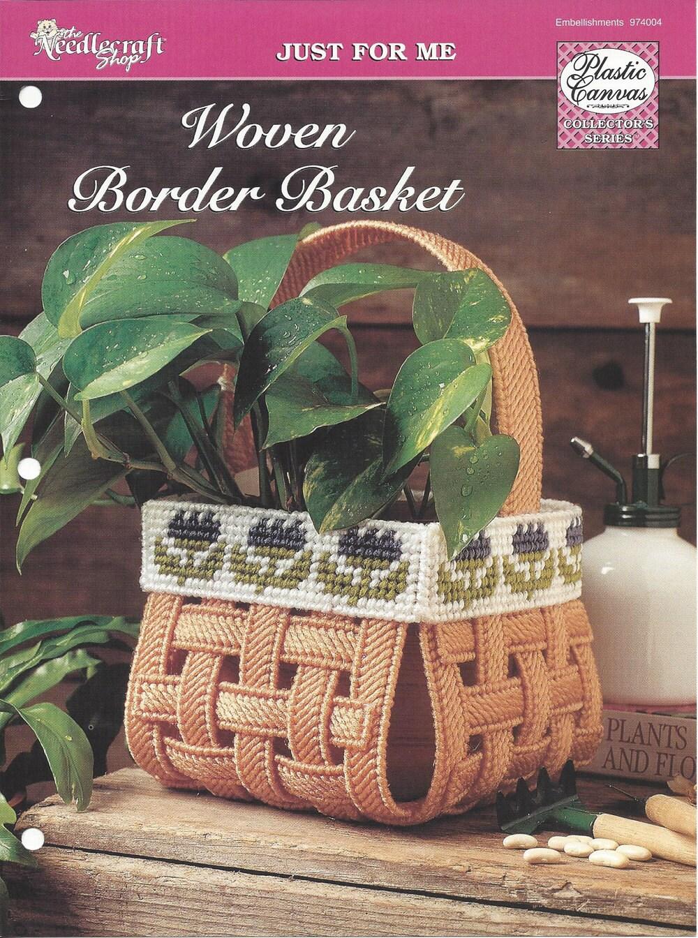 Woven Border Basket Plastic Canvas Pattern The Needlecraft