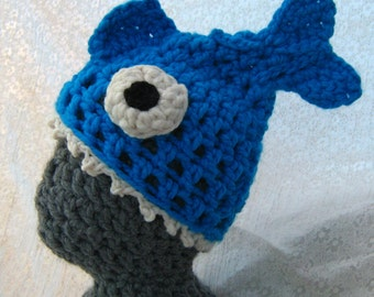 Fish Hat 'Brain Food' Crocheted Accessory. Super Cosy, Soft, Stretchy Unisex Adult Hat, Quirky, Silly Gift. Available Now In Cyan Blue