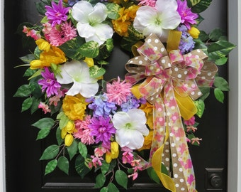 Spring Front Door Wreaths, Cottage Chic Wreaths, Front Door Wreaths, Summer Wreaths, Summer Door, Silk Flowers, Pastel Colors