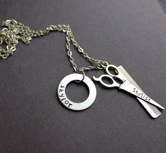 Barber Necklace : Hair Stylist Necklace, Custom Name Hair Dresser, Barber, Scissors and ...