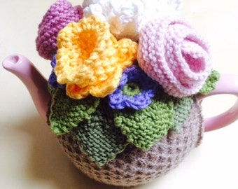 Spring Flower Basket Tea Cosy Cozy, 8 cup teapot, ready to ship
