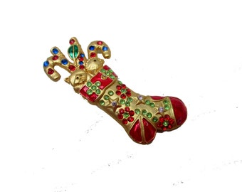 Christmas Stocking Brooch gold enamel and rhinestones