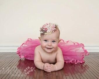 Vintage Baby Headband Newborn Headband Photo Prop Baby Bow Hair Bow Baby Girl Head Band Pink Yellow Taupe Bow Headband Shabby Chic Hairbow