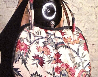 50s Printed Leather Handbag - High Quality Piece in Mint Condition