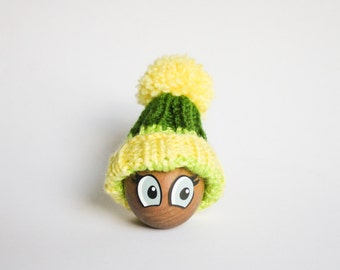 Yellow Egg Warmer - Green and Yellow striped Egg Cozy Pom Pom Hat - Centerpiece Table Decor - Food Travel Bag - Gift for kids - housewarming