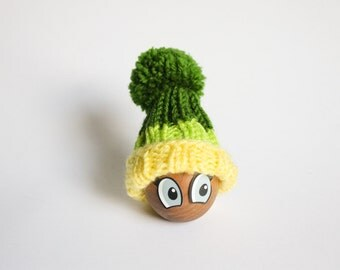 Green Egg Warmer - Green and Yellow striped Egg Cozy Pom Pom Hat - Centerpiece Table Decor - Food Travel Bag - Gift for kids - housewarming