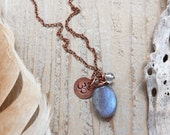 yoga necklace - yoga jewelry - om necklace - gemstone yoga necklace - om jewelry - labradorite, quartz