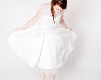 Tea Length 50's Style Ivory Satin Wedding Dress with Illusion Neckline