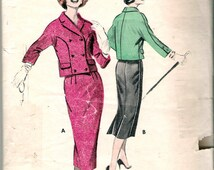 Vintage 1950's Butterick 8315 Double Breasted Suit Wiggle Skirt Sewing Pattern Size 12 Bust 32""