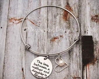 Charm Bracelet - Mother Bracelet - Personalized - Adjustable-Hand Stamped Jewelry-The Love Between a Mother And Daughter Is Forever
