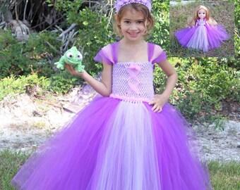 Princess Rapunzel Inspired Matching Girl and Doll Tutu Dresses