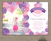 Bubble Invitation - Bubbles Birthday Party Invite - Pop on Over - First Birthday or ANY Age Any Text - ANY colors - Pink Purple - Printable