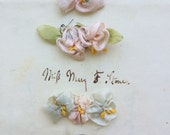 3 PC Authentic Antique RibbonWork Roses Flowers Charming Silk Blue Pink Appliques Ribbon Work from the Flapper Era