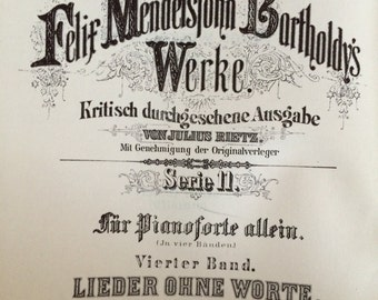 Mendelssohn Songs Without Words Lea Pocket Scores Vintage Music Book 1954