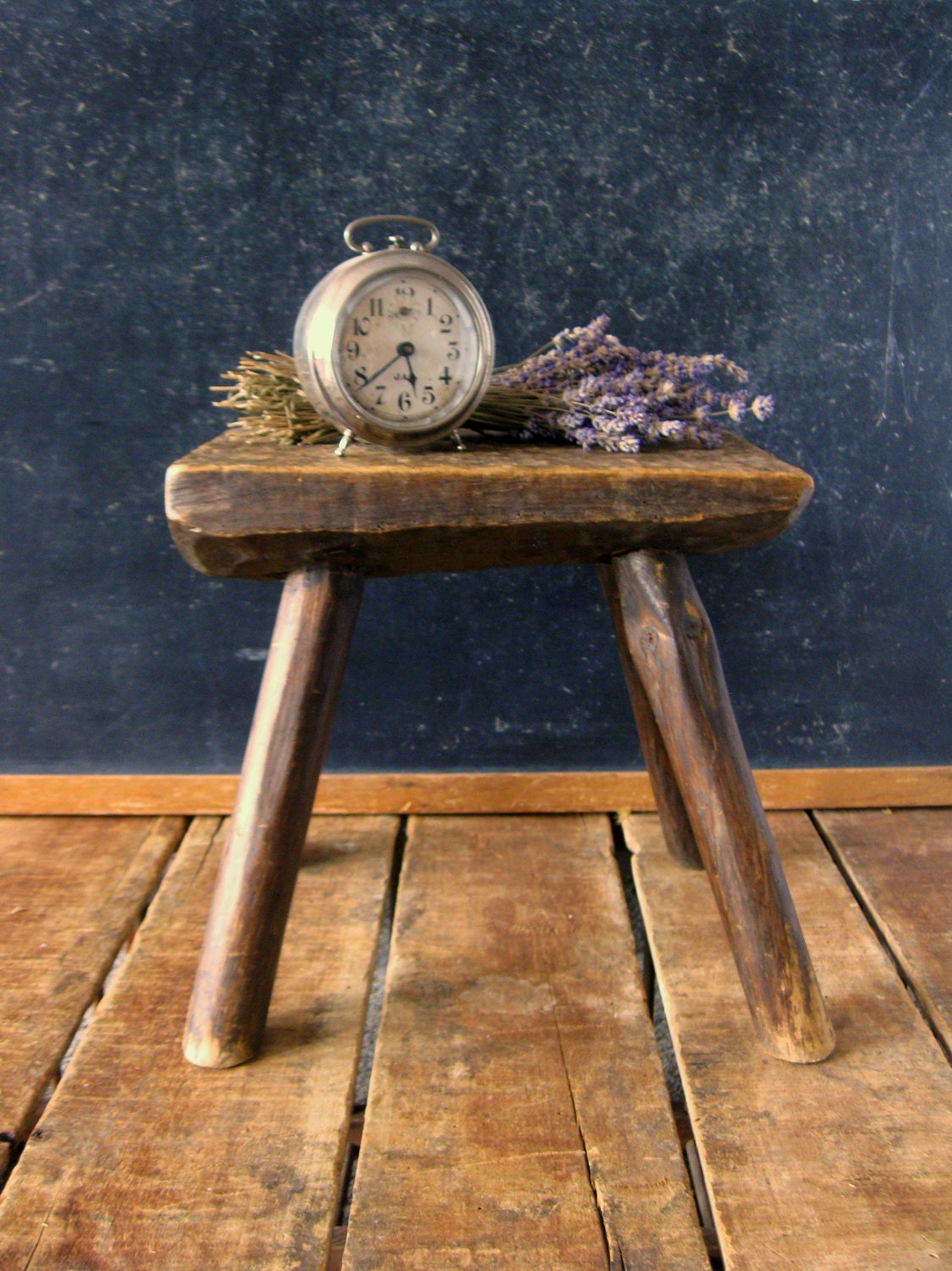 Old Wooden Stool ~ Antique wooden stool small wood hand carved