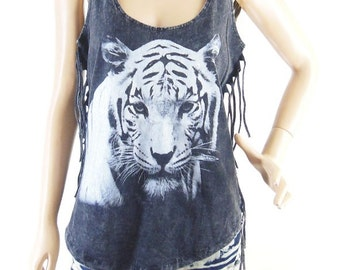 Tiger TShirt Tiger Tank Top cute tops funny tee graphic shirt Bleached Shirt Women Shirt Screen Print (Measurements - fits great from S - M)