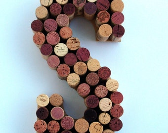 Wine Cork Letter S made from real wine corks! Cork Letters initial S Monogram letter S Wedding Gift, Anniversary Gift, Housewarming Gift.  S