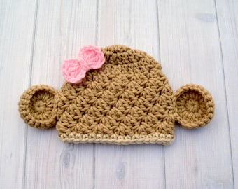 Crocheted Baby Monkey Hat, Monkey Photo Prop Hat, Monkey Prop Baby, Girl Animal Hat, Infant Girl Baby Hat, Baby Girl Gift, Hat with ears