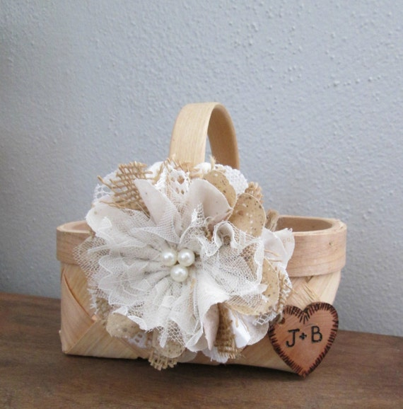 Flower Girl Baskets Small : Personalized rustic flower girl basket small wedding