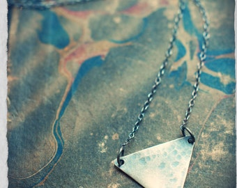 Miniature Elemental Alchemy necklace, Water symbol in sterling silver, Feminine sign, geometric design, triangle necklace, oxidised silver.