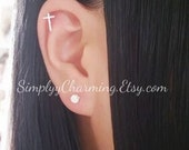 Tiny Cross Cartilage Earring In Silver Helix Earring Jewelry Dainty Simple Cross