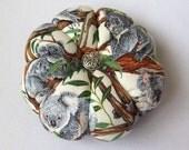 Pincushion KOALA Bear Fabric. Great for a sewing gift - Round Pin cushion. Double sided koalas. Australian made. Gum tree koala