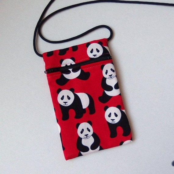 Pouch Zip Bag PANDA on Red Fabric.  Great for walkers, markets, travel.  cell phone pouch. Small fabric purse. Ipod MP3 pouch.