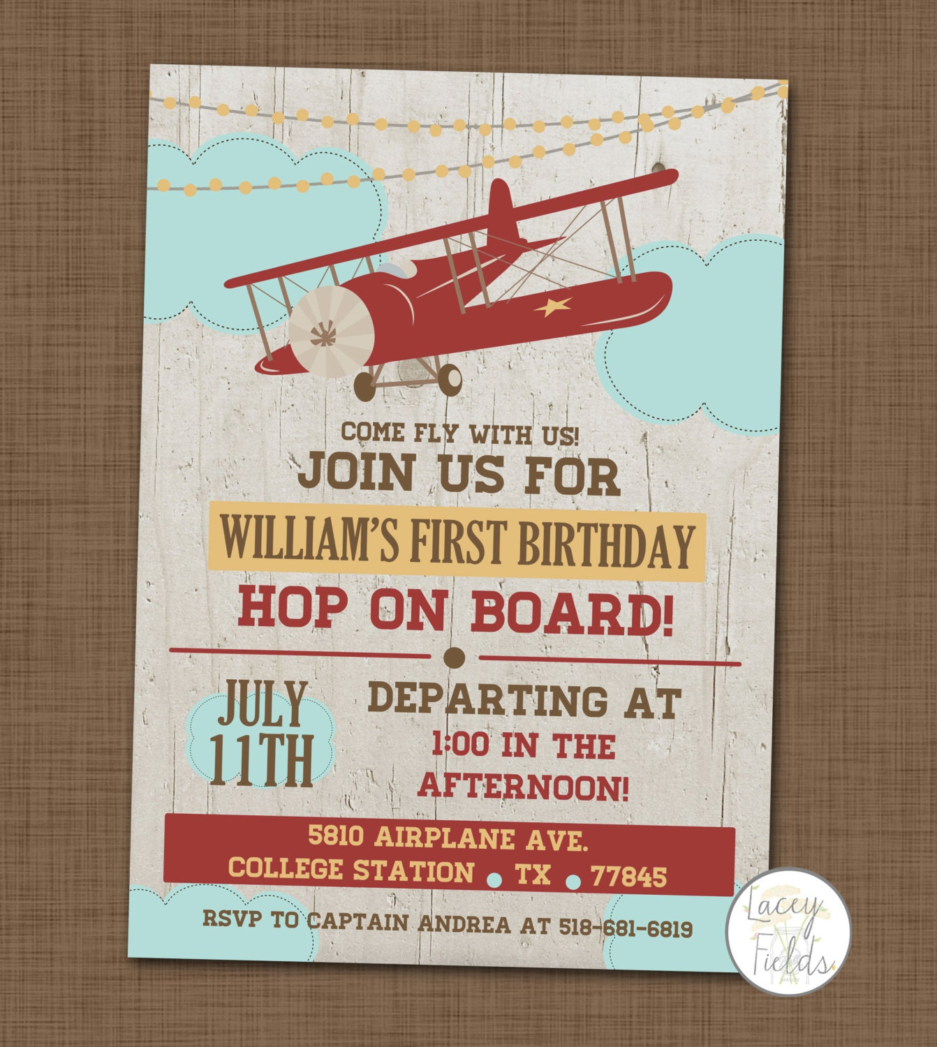 Vintage Airplane Party Printables Airplane Birthday Airplane: Airplane Birthday Party Invitation First Birthday By